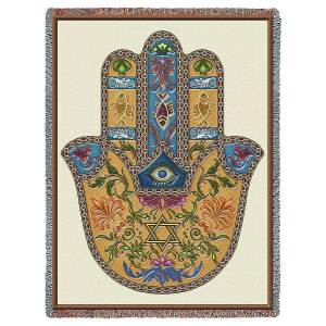 Hamsa   Cotton Throw Blanket   53 x 70