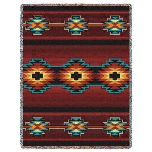 Southwest Geometric Deep Red | Cotton Throw Blanket