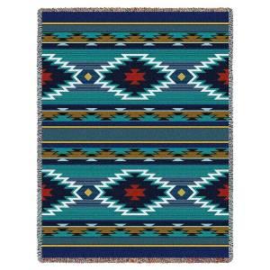 Southwest Geometric Cornflower | Cotton Throw Blanket | 53 x 70