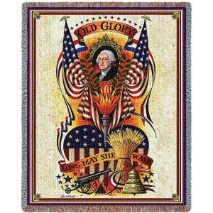 Charles Wysocki | Long May She Wave | Cotton Throw Blanket | 54 x 70