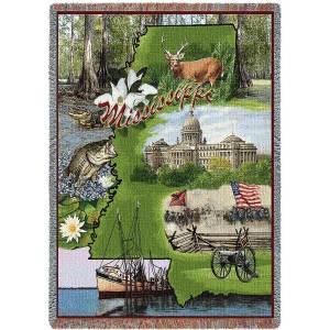 Mississippi   Tapestry Blanket   54 x 70