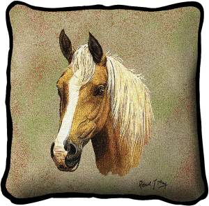 Palomino Horses | Woven Tapestry Throw Pillow | 17 x 17