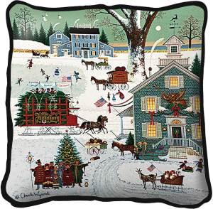 Cape Cod Christmas | Charles Wysocki | Christmas Throw Pillow | 17 x 17