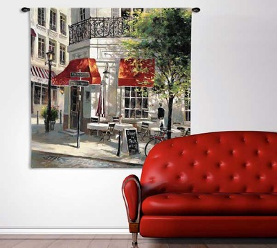 """Paris Corner Cafe by Brent Heighton   53"""" x 53""""   Tapestry Wall Hanging"""