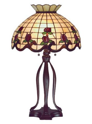"31.5 H"" Roseborder Tiffany Stained Glass Decorative Lamp"