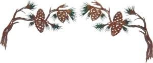 Pine Cone Branches Over the Door-Set of 2 | Metallic Wall Decor