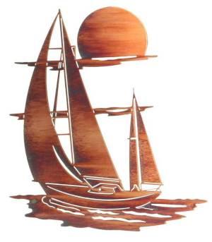 "Sunset Sails Nautical Laser Cut Steel   24""   Metal Wall Art"