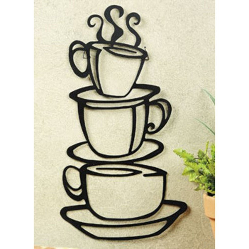 Coffee Decor for Coffee Lovers | Stacked Coffee Cups Silhouette Metal Wall Art