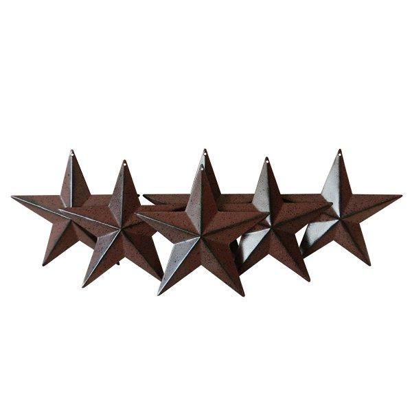 "4"" Burgundy/Black Metal Barn Star | Set of 6"