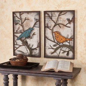 Vintage Bird Panels Metal Wall Art | Set of 2