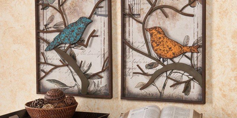 Colorful Birds Metal Wall Art Set