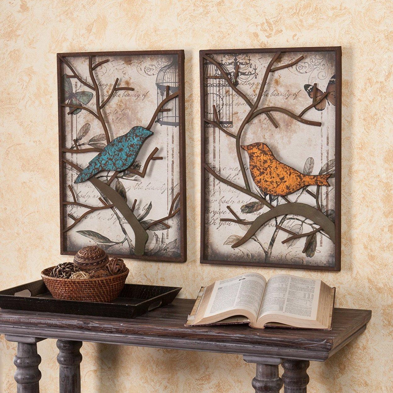 Vintage Bird Panels Metal Wall Art | Set of 2