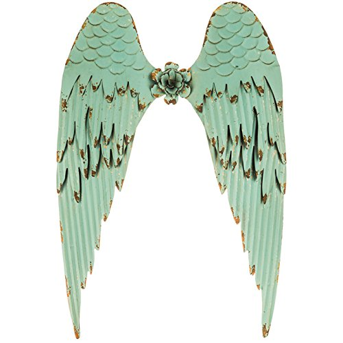 Large Turquoise Angel Wings   Distressed Metal Wall Art