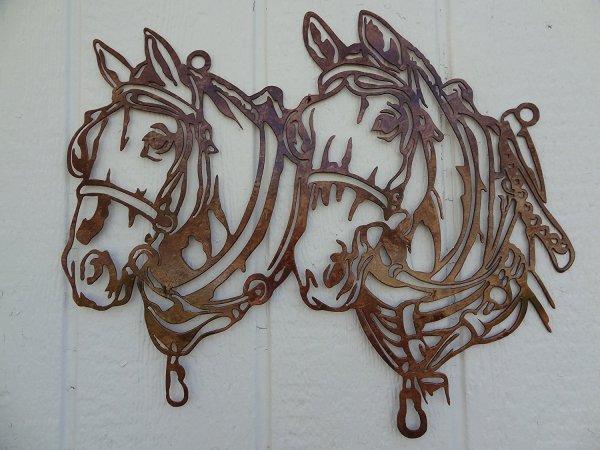 Draft Horse Heads Metal Wall Art