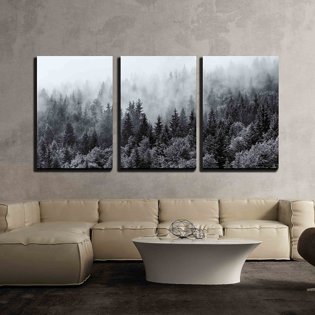 Misty Forests of Evergreen Trees | 3 Piece Canvas Wall Art Set