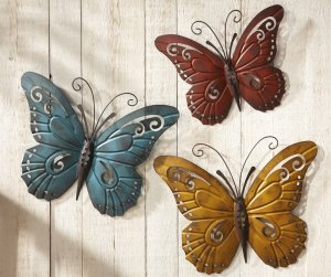 Butterfly Metal Wall Art - 3 Piece Set