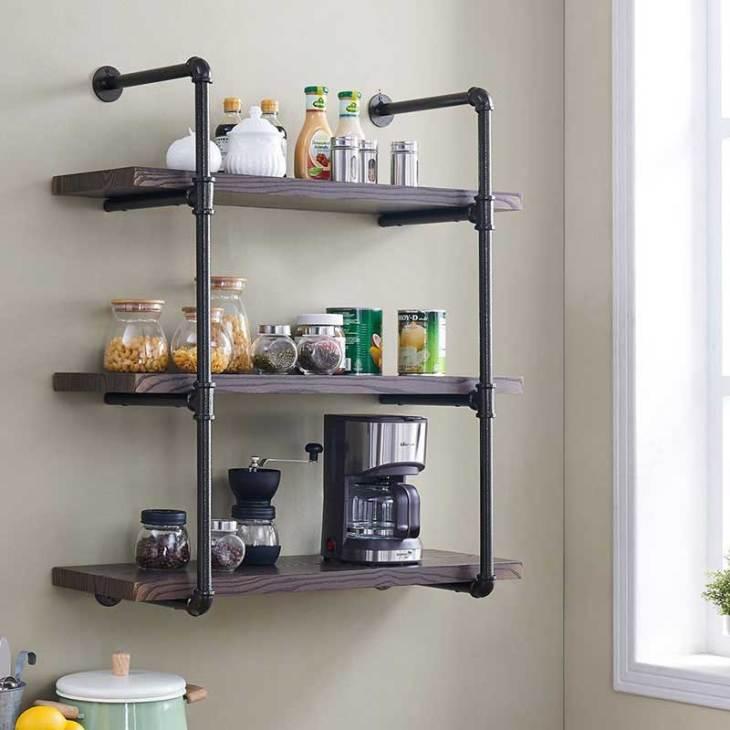 Homissue 3-Shelf Rustic Pipe Shelving Unit with Espresso Shelves