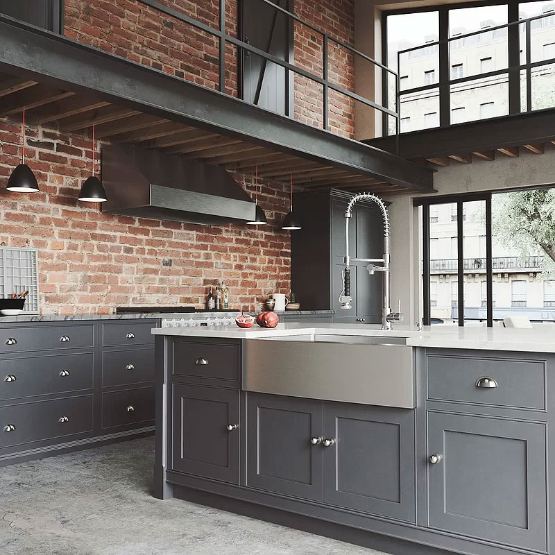 Industrial Brick & Gray Kitchen