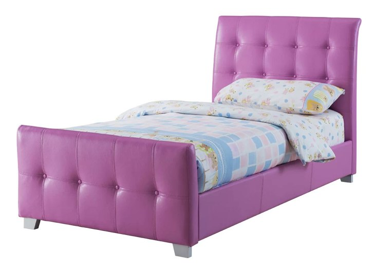 Upholstered Sleigh Beds | Lee Purple Twin Bed