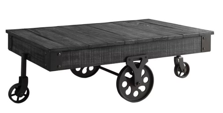 Rustic Wooden Coffee Tables | 17 Stories | Choncey Wood Table | Black