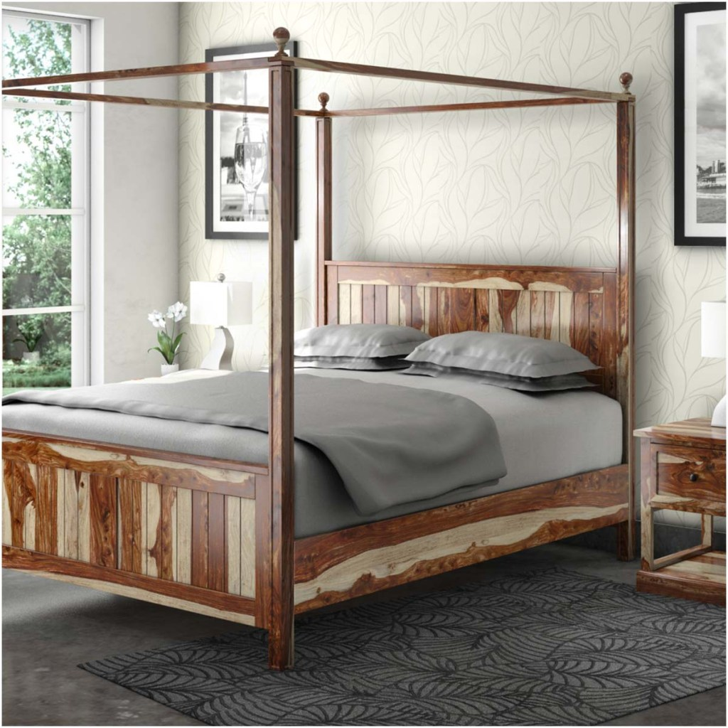 Rustic & Farmhouse Canopy Beds  Dallas Solid Wood King Platform Bed