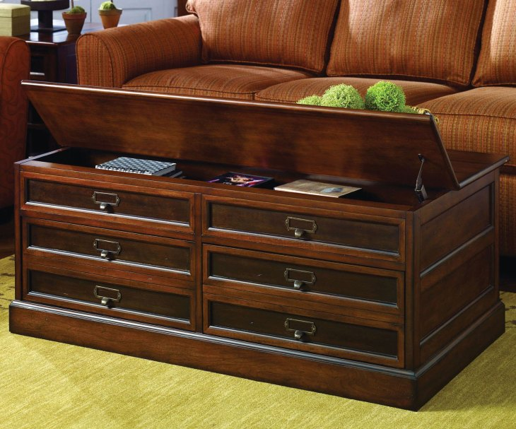 Modern Wooden Coffee Tables   Hammary Mercantile Rectangular Storage Coffee Table