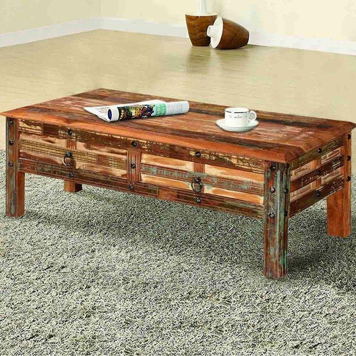 Rustic Wooden Coffee Tables   Sierra Living Concepts   Pioneer Rustic Reclaimed Wood 2 Drawer Coffee Table