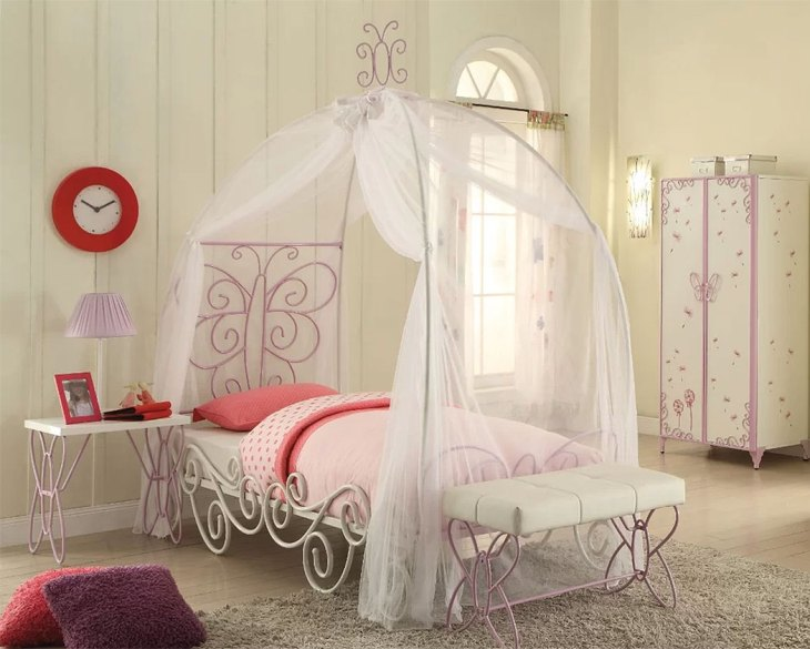 Rustic & Farmhouse Canopy Beds| Zoomie Kids Kimes Butterfly Full Bed