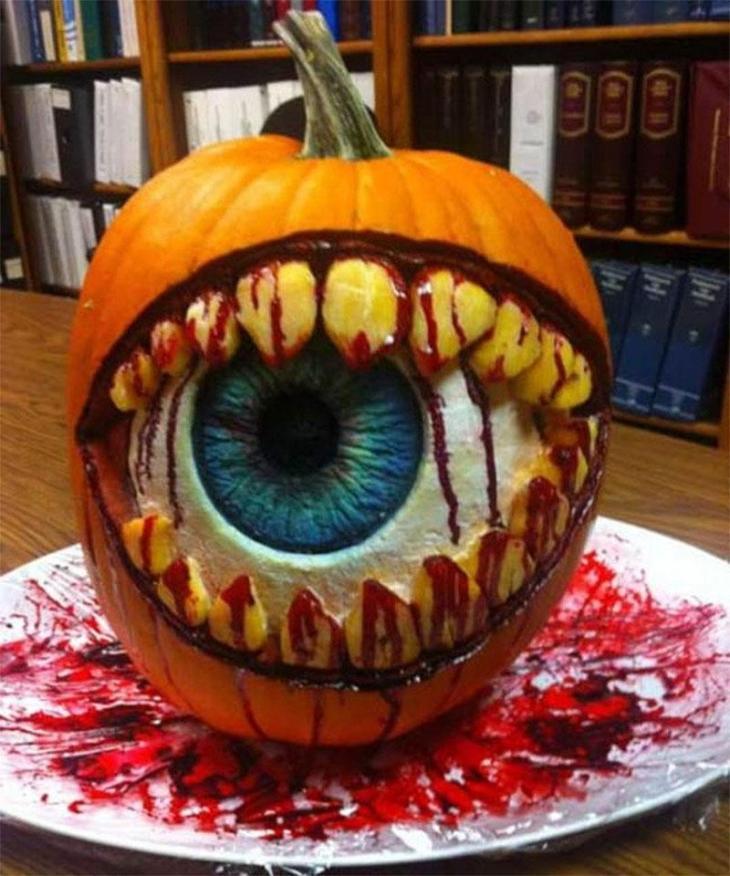 Bloody Eyeball Carved Pumpkin Idea