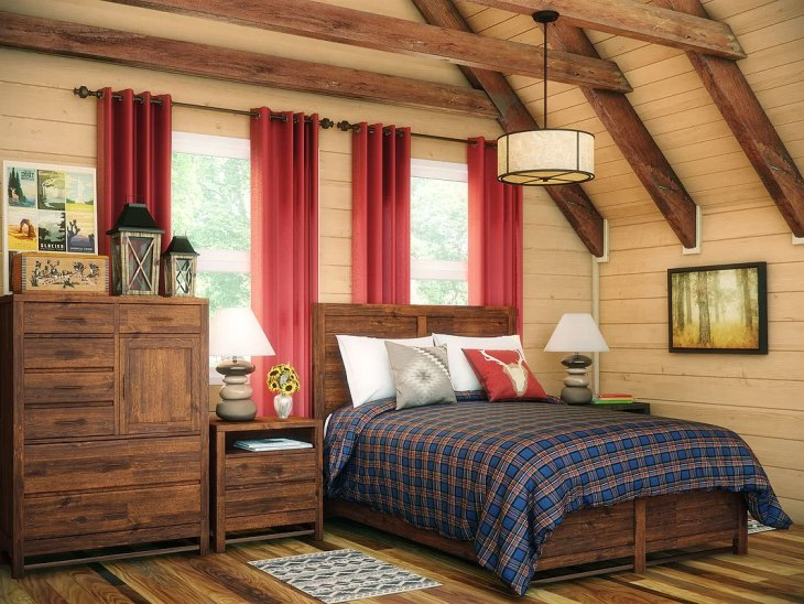 Blue Plaid Country Bedroom