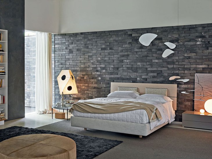 Dark Gray Brick Bedroom Wall