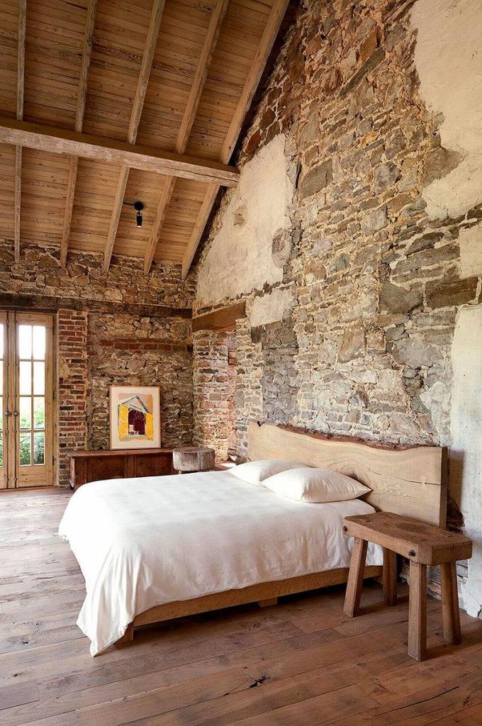 Distressed Farmhouse Brick Bedroom Wall