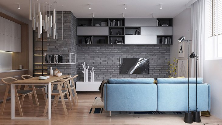 Light Gray Scandinavian Brick Wall by K Band