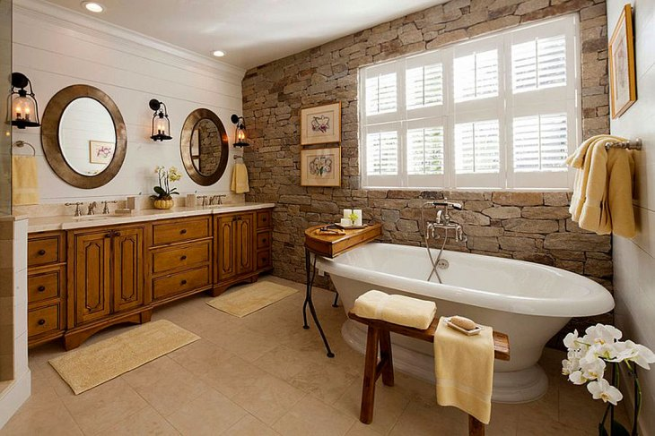 Modern Farmhouse Stone Bathroom Wall