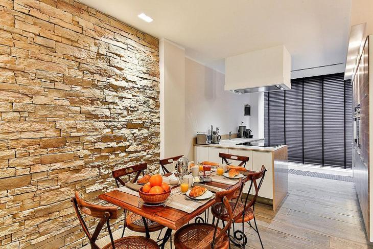 Modern Kitchen Stone Wall