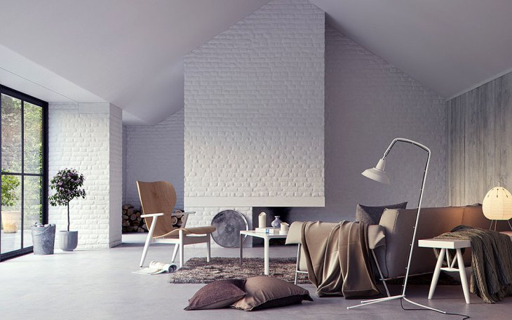 Painted White Wall-to-Wall Brick Fireplace