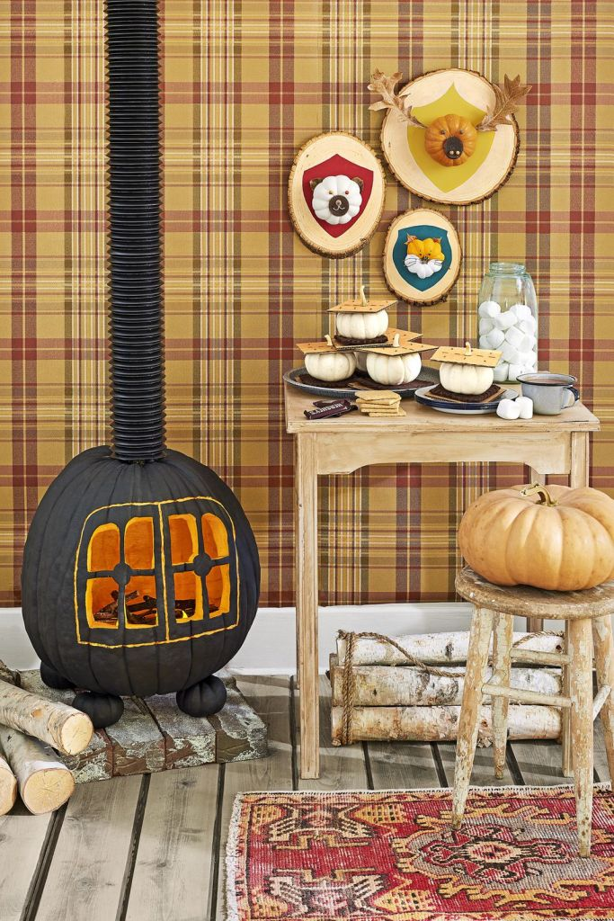 Creative Pumpkin Carving Ideas: Wood Stove Pumpkin