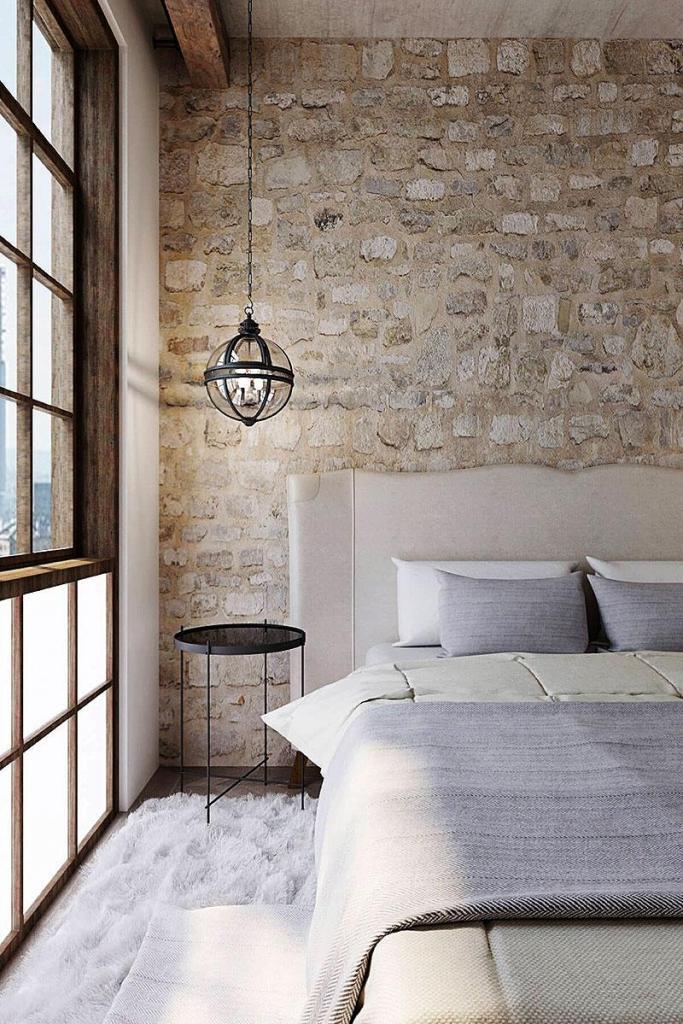 Rough Hewn Beige Brick Bedroom Wall