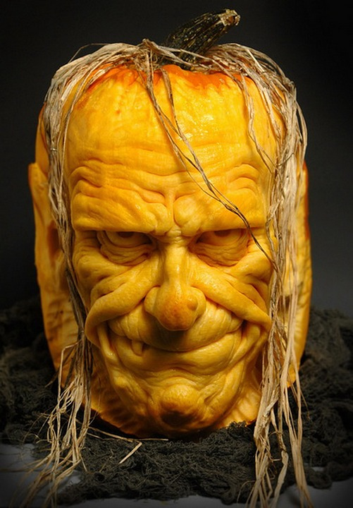 Halloween Pumpkin Carving Ideas | Sculpted Scary Face