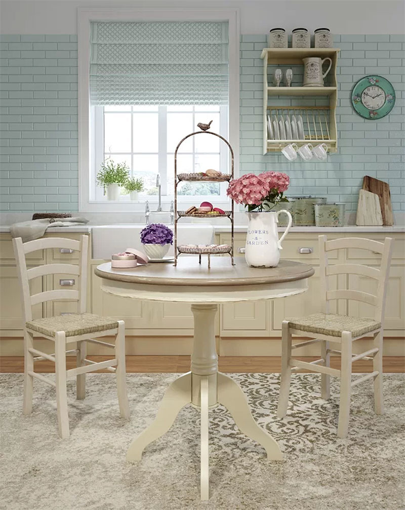 Blue French Country Cottage Kitchen