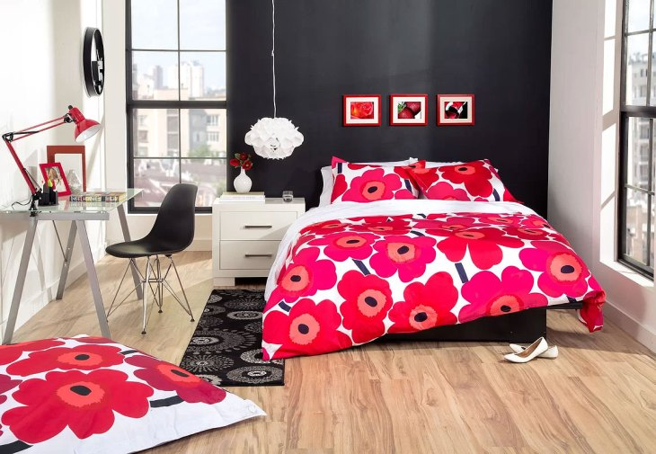 Bright & Bold Modern Red Flowers Bedroom