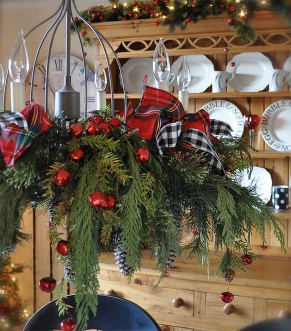 Chandelier with Rustic Country Christmas Makeover