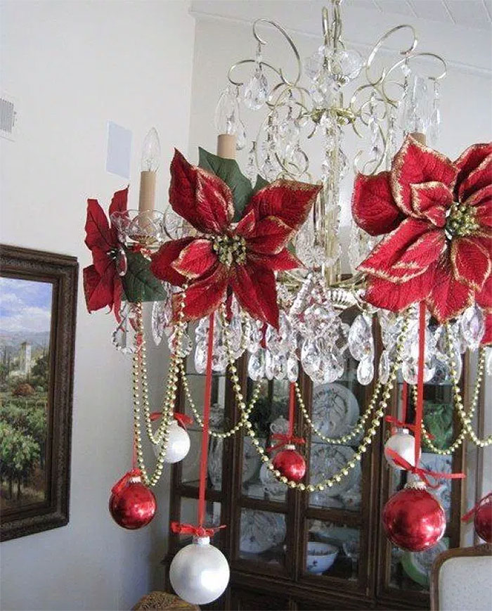 Christmas Poinsettia Chandelier