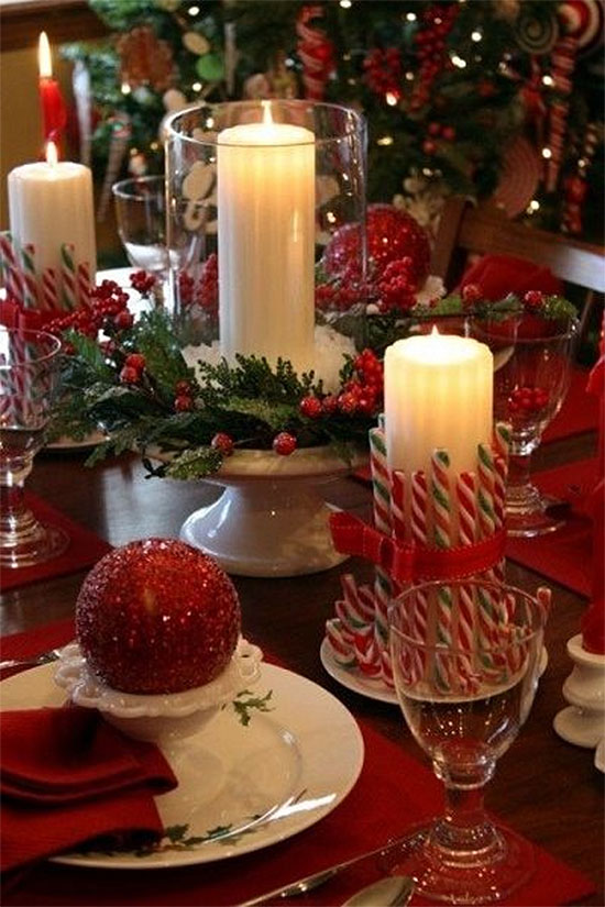 Candy Cane Christmas Table Accents