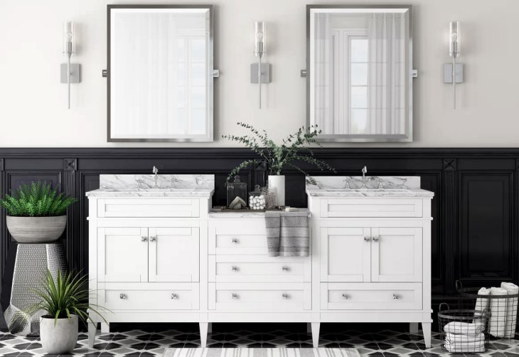 Classic Wainscoted Black & White Bathroom