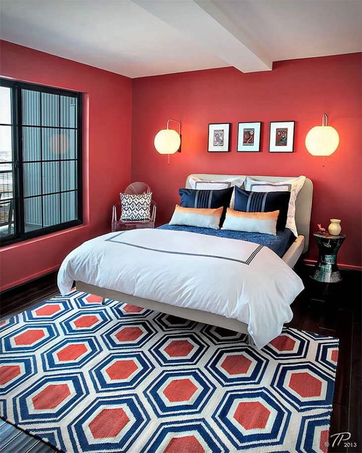 Crisp Modern Red Bedroom