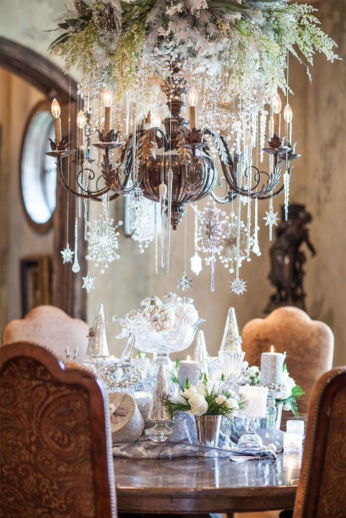 French Country Abundance Christmas Decorated Chandelier