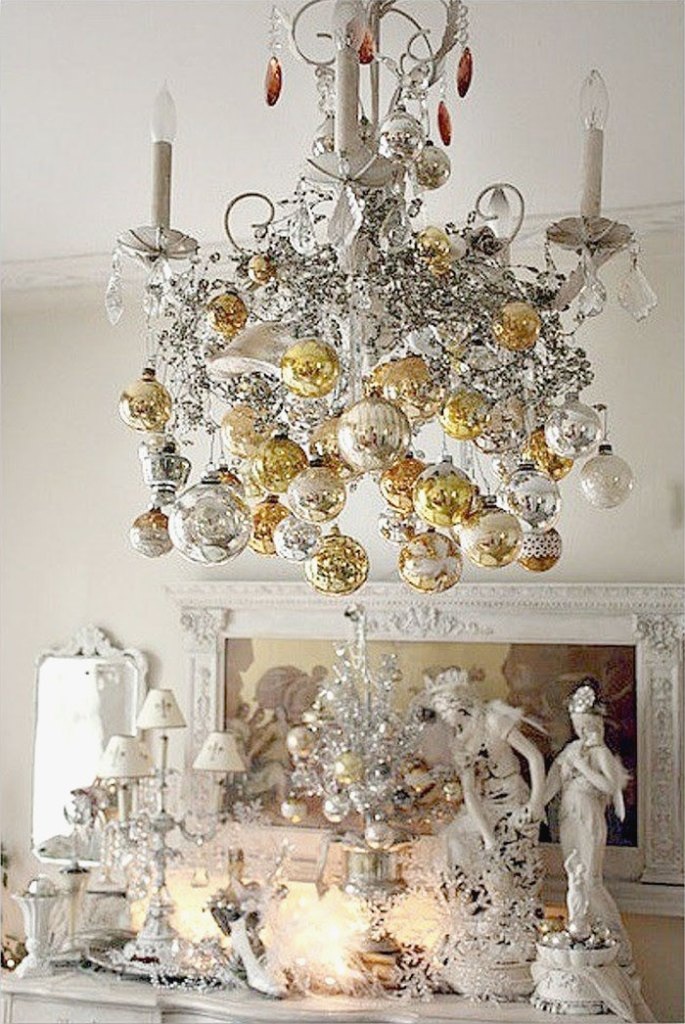 Glamorous Silver & Gold Christmas Decorations Chandelier