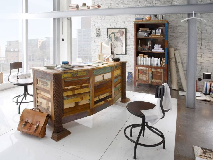 ndustrial Reclaimed Wood Home Office Design