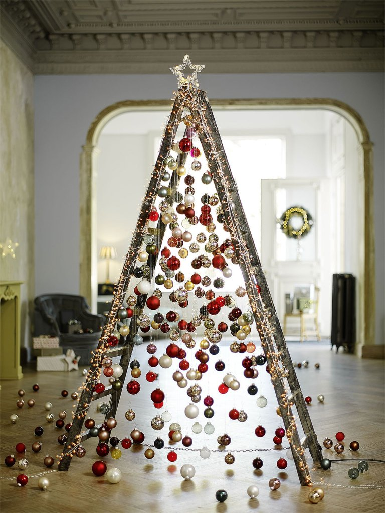 Ladder and Christmas Ornament Tree